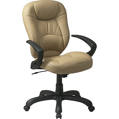 Office Star WorkSmart™ Deluxe Faux Leather Oversized Task Chair with Padded Arm, Tan