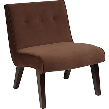 Office Star Ave Six Curves Valencia Velvet Armless Chair, Chocolate (VAL51N-C12)