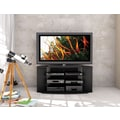 Sonax® Rio 55in. Wood/Veneer TV Stand with Two Glass Shelves, Midnight Black Lacquer