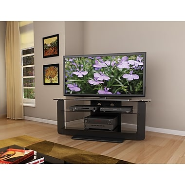 Sonax® Atlantic 52in. TV Stand with Glass Shelves, Midnight Black