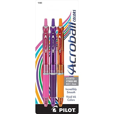 Pilot® Acroball Color Hybrid Ink Pens, Medium, Assorted, 3/Pack