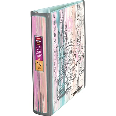 1.5in. Staples® Better® Non View Binder with D-Rings, City Scape
