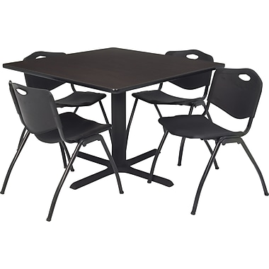 Regency 42in. Square Table Set with 4 Chairs, Mocha Walnut/Black