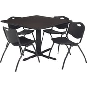 Regency Seating Cain 42 inch Square Table- Mocha Walnut w/ 4 'M' Stack Chairs- Black