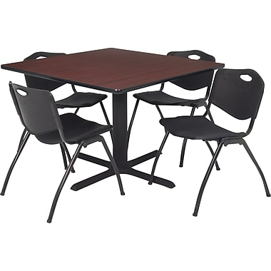 Regency 42in. Square Table Set with 4 Chairs, Mahogany/Black