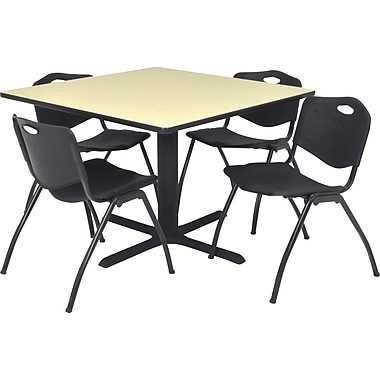 Regency Seating Cain 42in. Square Table- Maple w/ 4 'M' Stack Chairs, Black