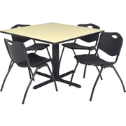 Regency Seating Cain 42 inch Square Table- Maple w/ 4 'M' Stack Chairs- Black