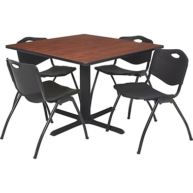 Regency Seating Cain 42in. Square Table- Cherry w/ 4 'M' Stack Chairs- Black