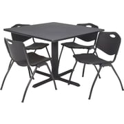 "Regency Seating Cain 42"" Square Table- Grey w/ 4 'M' Stack Chairs- Black"