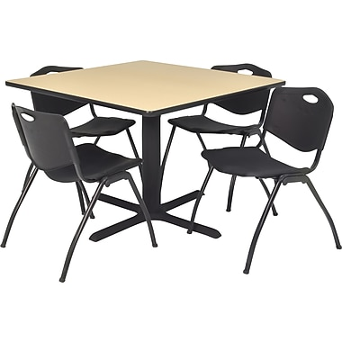Regency Seating Cain 42 inch Square Table- Beige w/ 4 'M' Stack Chairs- Black