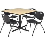 Regency® 42 Square Table Set with 4 Chairs, Beige/Black