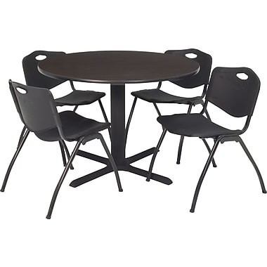 Regency Seating Cain 42in. Square Table- Mocha Walnut w/ 4 'M' Stack Chairs- Black