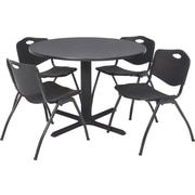 Regency® 42 Round Table Set with 4 Chairs, Grey/Black