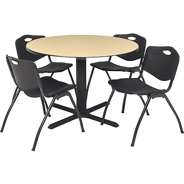 Regency 42in. Round Table Set with 4 Chairs, Beige/Black