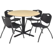 Regency® 42 Round Table Set with 4 Chairs, Beige/Black