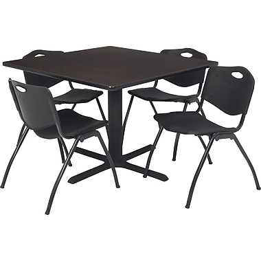 Regency 36in. Square Table Set with 4 Chairs, Mocha Walnut/Black
