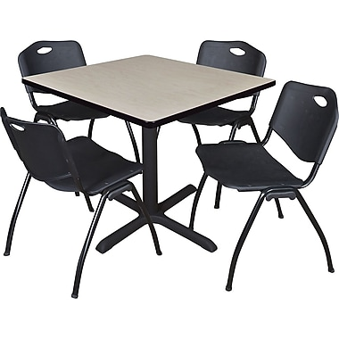 Regency Seating Cain 36in. Square Table- Maple w/ 4 'M' Stack Chairs- Black