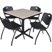 "Regency Seating Cain 36"" Square Table- Maple w/ 4 'M' Stack Chairs- Black"