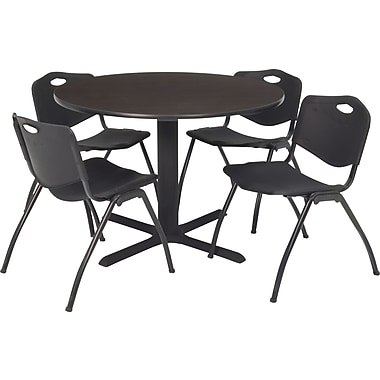Regency Seating Cain 36in. Round Table- Mocha Walnut w/ 4 'M' Stack Chairs- Black