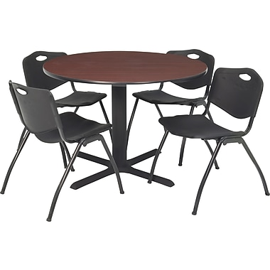 Regency Seating Cain 36in. Round Table- Mahogany w/ 4 'M' Stack Chairs- Black