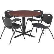 "Regency Seating Cain 36"" Round Table- Mahogany w/ 4 'M' Stack Chairs- Black"