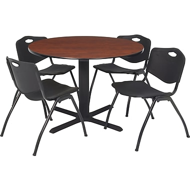 Regency Seating Cain 36in. Round Table- Cherry w/ 4 'M' Stack Chairs- Black