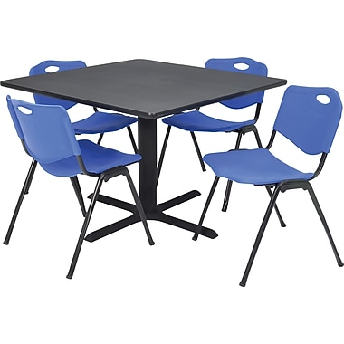 Regency Seating Cain 36in. Square Table- Grey w/ 4 'M' Stack Chairs- Blue
