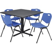 Regency® 36 Square Table Set with 4 Chairs, Grey/Blue