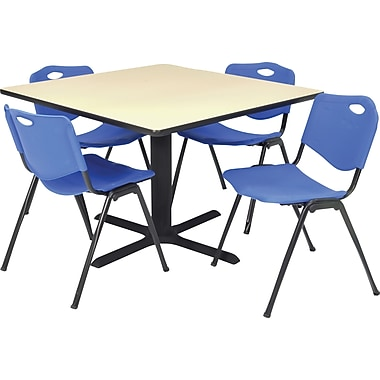 Regency Seating Cain 36in. Square Table- Beige w/ 4 'M' Stack Chairs- Blue