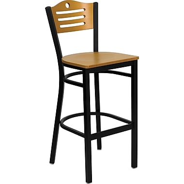 Flash Furniture HERCULES Series Black Slat Back Metal Restaurant Bar Stool, Natural Wood Back & Seat