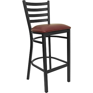Flash Furniture Hercules™ Series Black Ladder Back Metal Restaurant Bar Stool, Burgundy