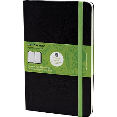 Moleskine Evernote Smart Notebook, Large, Ruled, Hard Cover, 5in. x 8-1/4in.
