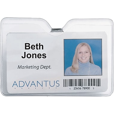 Advantus ID Badge Holder - Horizontal with Clip, 4in. x 3in. Insert Size, 50/Pk