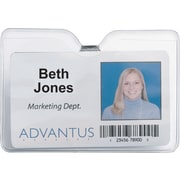 "Advantus ID Badge Holder - Horizontal with Clip, 4"" x 3"" Insert Size, 50/Pk"
