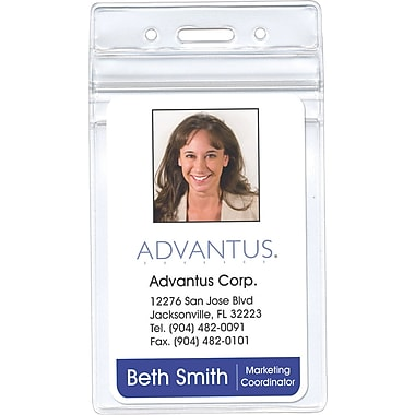 Advantus Re-sealable Badge Vertical Holder, 2 5/8in. x 3 3/4in. Insert Size, 50/Pk