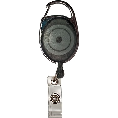 Advantus Retractable Carabiner-Style Badge Reel with Badge Holder, Smoke, 12/Pk