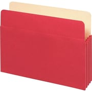 "Staples® Colored Top-Tab File Pockets, 5 1/4"" Expansion, Letter, Red, 25/Bx"