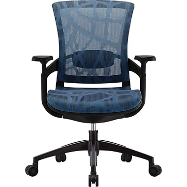 Skate Ergonomic Patterned Mesh Manager's Chair, Adjustable Arms, Blue
