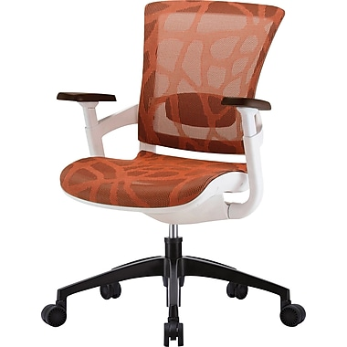 Skate Burnt Orange Mesh Ergonomic Chair w/ White Frame