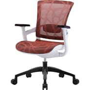 Skate Scarlet Red Mesh Ergonomic Chair w/ White Frame