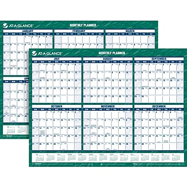 2013/2014 AT-A-GLANCE® Academic Recycled Yearly Mini Erasable Planner, 16in. x 12in.