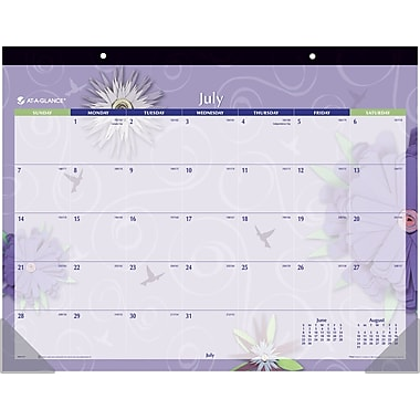 2013/2014 AT-A-GLANCE® Academic Paper Flowers Monthly Desk Pad, 22in. x 17in.