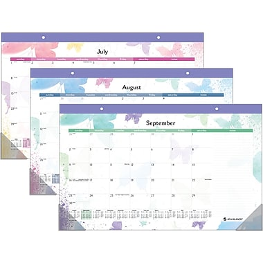 2014/2015 AT-A-GLANCE® Watercolors Compact Monthly Desk Pad Calendar, 17 3/4in. x 10 7/8in.