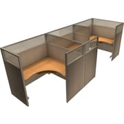 OFM® RiZe™ 63x60 Triple Workstation, Beige/Maple