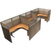 OFM® RiZe™ 63x72 Triple Workstation, Beige/Maple