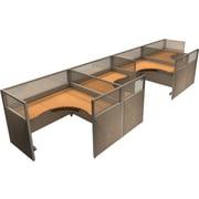 OFM® RiZe™ 47x60 Quad Workstation, Beige/Maple