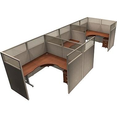 OFM® RiZe™ 63x72 Triple Workstation, Gray/Cherry