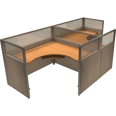 OFM® RiZe™ 47x60 Double Workstation, Beige/Maple