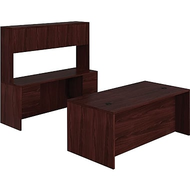 HON 10500 Series Compact Workstation/Office Desk, 72in., Mahogany