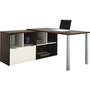 Bestar Contempo L-Shape Desk Common Configuration, Tuxedo & Sandstone